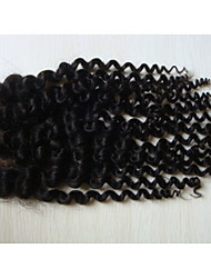 "cheap -16""Kinky Curly Brazilian Virgin Hair Hair Pieces Lace Closure 4""x4""  Free Style 1Pc Natural Colour"
