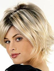 cheap -Synthetic Wig Straight Wig Blonde Short Shiny grey Synthetic Hair Women's Blonde StrongBeauty
