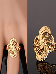 cheap -Women's Band Ring Golden Golden 5 Petals Silver 5 Petals Gold Plated Alloy Ladies Unusual Asian Wedding Party Jewelry Hollow Out Artisan