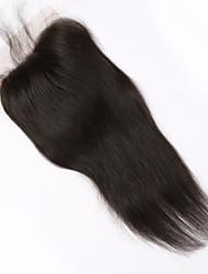 """cheap -4x4"""" 16"""" Brazilian Human Hair Lace Closure Straight Hair Piece Natural Colour Free Part"""