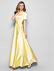 cheap -A-Line Jewel Neck Floor Length Satin Short Sleeve Elegant / Vintage / Plus Size Mother of the Bride Dress with Sash / Ribbon / Ruched / Crystals 2020