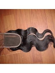 "cheap -14"" 4x4"" Brazilian Human Hair Lace Closure Left Part Body Wave Hair Piece Closure Natural Colour"