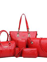 cheap -Women's Bags Patent Leather Shoulder Messenger Bag Bag Set 6pcs Solid Colored Shopping Office & Career Bag Sets 2021 Handbags Black Red Blue