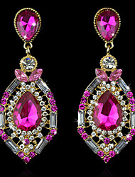 cheap -Women's Sapphire Crystal Amethyst Stud Earrings Drop Earrings Hanging Earrings Pear Cut Solitaire Ladies Luxury European Fashion Elegant Indian 18K Gold Plated Earrings Jewelry Green / Pink / Royal