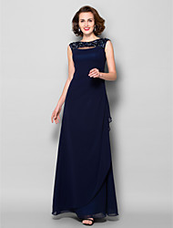 cheap -Sheath / Column Mother of the Bride Dress Bateau Neck Floor Length Georgette Sleeveless with Ruched Crystals Beading 2021