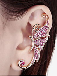 cheap -Women's Synthetic Diamond Ear Cuff Climber Earrings Butterfly Animal Ladies Rhinestone Earrings Jewelry White / Purple For Wedding Party Daily Casual