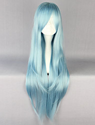 cheap -Cosplay Costume Wig Synthetic Wig Straight Straight Layered Haircut Wig Long Sky Blue Synthetic Hair 30 inch Women's Natural Hairline Blue