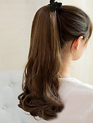 cheap -South Korean High-Temperature Wire Wig Brown Beautiful Pear Fluffy Ponytail Scroll 50CM