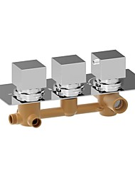 cheap -Shower Faucet - Contemporary Chrome Wall Mounted Brass Valve Bath Shower Mixer Taps / Three Handles Three Holes