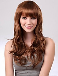 cheap -Synthetic Wig Straight With Bangs Wig Long Dark Brown Women's Brown