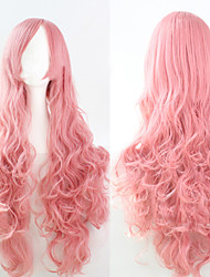 cheap -Synthetic Wig Curly Loose Wave Natural Wave Natural Wave Curly Asymmetrical Wig Pink Long Pink Synthetic Hair 25 inch Women's Natural Hairline Pink