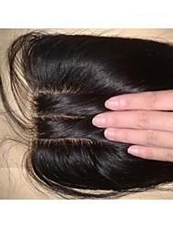 cheap -Silk Base Closure 18Inch Malaysian Virgin Hair Straight Hair Closures Silk Base 3 Part Natural Colour Human Hair Piece