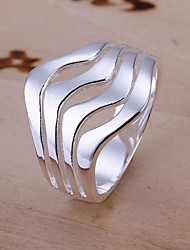 cheap -Band Ring Contour Sterling Silver Ladies Fashion 8 / Statement Ring / Women's