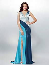 cheap -Sheath / Column Beautiful Back Holiday Cocktail Party Formal Evening Dress V Neck Sleeveless Sweep / Brush Train Chiffon with Crystals Beading Side Draping 2020