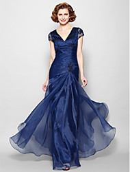 cheap -A-Line V Neck Floor Length Organza Short Sleeve Elegant Mother of the Bride Dress with Lace / Criss Cross / Ruched 2020