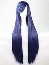 cheap -Synthetic Wig Straight Minaj Style Asymmetrical Wig Dark Blue Synthetic Hair 28 inch Women's Natural Hairline Blue Wig Long