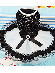 cheap -Dog Dress Dog Clothes Black Costume Cotton Crystal / Rhinestone Wedding XS S M L XL XXL