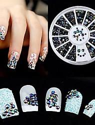 cheap -Mixed Size Black AB Color Manicure Acrylic Diamond Nail Jewelry