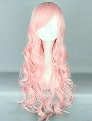 cheap -party pink large waves of high quality synthetic hair fashion