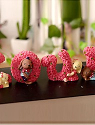 cheap -4 Pcs Lovely LOVE Rabbits Resin Painting Furnishing Articles