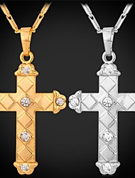 cheap -Men's Women's Pendant Necklace Cross Fashion 18K Gold Plated Rhinestone Platinum Plated Silver Golden Necklace Jewelry For Wedding Party Daily Casual