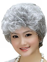 cheap -Synthetic Wig Curly Style Asymmetrical Wig Silver Synthetic Hair 12 inch Women's Natural Hairline Gray Wig Short / Yes