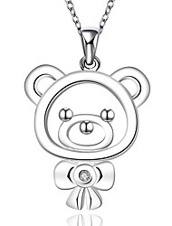 cheap -Women's Cubic Zirconia Choker Necklace Pendant Necklace Pendant Bear Animal Ladies Fashion Cute Synthetic Gemstones Sterling Silver Zircon White Necklace Jewelry For Christmas Gifts Wedding Party