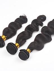 cheap -3Pcs/lot 24inch Brazilian Virgin Hair Natural Colour Loose Wave Hair Weaving Human Hair Bundles