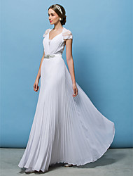 cheap -A-Line V Neck Floor Length Chiffon Short Sleeve See-Through / Illusion Detail Made-To-Measure Wedding Dresses with Beading / Button / Lace Insert 2020