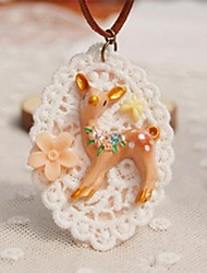 cheap -Fashion New Cute Resin Fawn Sweater Necklace