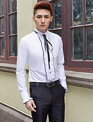 cheap -Men's Wedding Party Office / Career Stylish / Classical / Basic Tailored Fit Shirt - Solid Colored