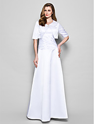cheap -A-Line Mother of the Bride Dress Wrap Included Jewel Neck Floor Length Satin Half Sleeve with Ruched Crystal Brooch 2021