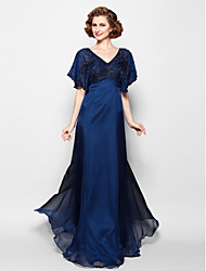 cheap -A-Line Mother of the Bride Dress Sparkle & Shine V Neck Floor Length Chiffon Short Sleeve with Beading 2021