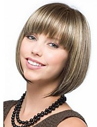 cheap -Synthetic Wig Straight Straight Bob With Bangs Wig Blonde Short Light Blonde Synthetic Hair 9 inch Women's With Bangs Blonde