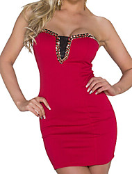 cheap -Women's Club Mini Slim Bodycon Dress - Solid Colored Beaded Strapless Black Red M XL XXL