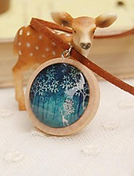 cheap -Fashion New Cute Elk Wooden Sweater Necklace