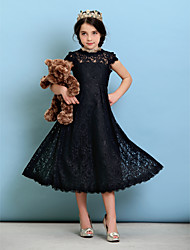 cheap -A-Line / Princess Jewel Neck Tea Length Lace Junior Bridesmaid Dress with Pleats / Natural