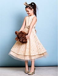 cheap -A-Line Jewel Neck Tea Length All Over Floral Lace Junior Bridesmaid Dress with Bow(s) / Sash / Ribbon / Flower / Natural