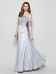 cheap -A-Line Mother of the Bride Dress Jewel Neck Floor Length Organza Half Sleeve with Beading Sequin 2021