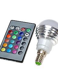 cheap -1pc LED Globe Bulbs 300 lm E14 1 LED Beads Remote-Controlled RGB 100-240 V / 1 pc