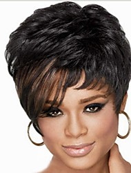 cheap -Synthetic Wig Kinky Curly With Bangs Wig Short Black Women's Black