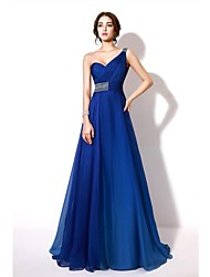 cheap -A-Line Formal Evening Dress One Shoulder Sleeveless Floor Length Chiffon with Crystals Beading 2021