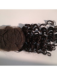 """cheap -18""""Brazilian Virgin Hair Closure Free Style 3.5""""x4"""" Straight Natural Colour Hair Pieces Lace Closure"""