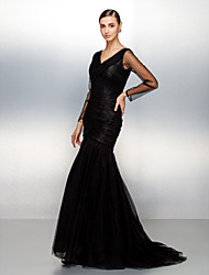 cheap -Fit & Flare Formal Evening Dress V Neck Long Sleeve Sweep / Brush Train Tulle with Criss Cross Ruched 2021