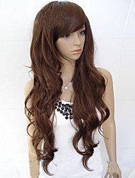 cheap -Synthetic Wig Curly Wavy Loose Wave Curly Loose Wave Asymmetrical With Bangs Wig Long Light Brown Darkest Brown Dark Auburn Dark Brown Synthetic Hair 25 inch Women's Natural Hairline Black Dark Brown