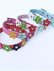 cheap -Cat Dog Collar Adjustable / Retractable Cosplay PU Leather Red Blue Pink