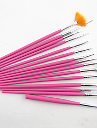 cheap -15pcs pink nail art design painting drawing pen brush set wood handle acrylic brush