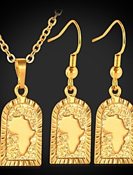cheap -U7® African Map Pendant Necklace Drop Earrings 18K Real Gold Platinum Plated Fanshion Jewelry Set for Women High Quality