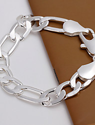cheap -Men's Chain Bracelet Silver Plated Bracelet Jewelry Silver For Party Daily Casual