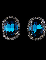 cheap -Women's Crystal Stud Earrings Ladies European Fashion 18K Gold Plated Imitation Pearl Rhinestone Earrings Jewelry Red / Green / Blue For / Imitation Diamond / Austria Crystal